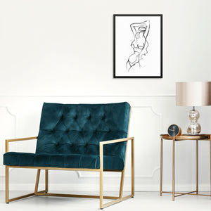 Abstract Woman Line Drawing Minimalist Wall Decor Art Print
