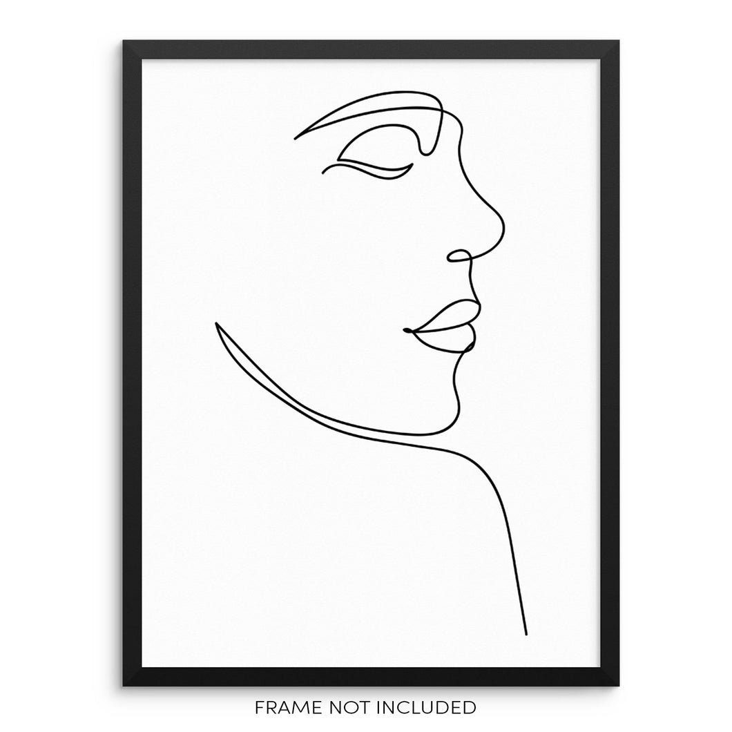 Abstract Woman Modern One Line Wall Decor Art Print
