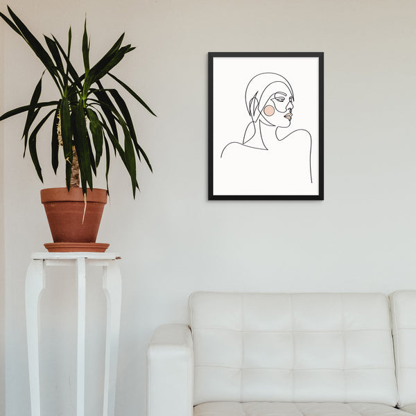 Abstract One Line Woman's Face Home Decor Wall Art Poster Print