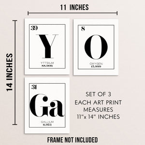 YOGA Periodic Table of Elements Words Art Print Set
