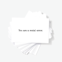 You Are A Social Error Offensive Sarcastic Mini Greeting Cards by Sincerely, Not