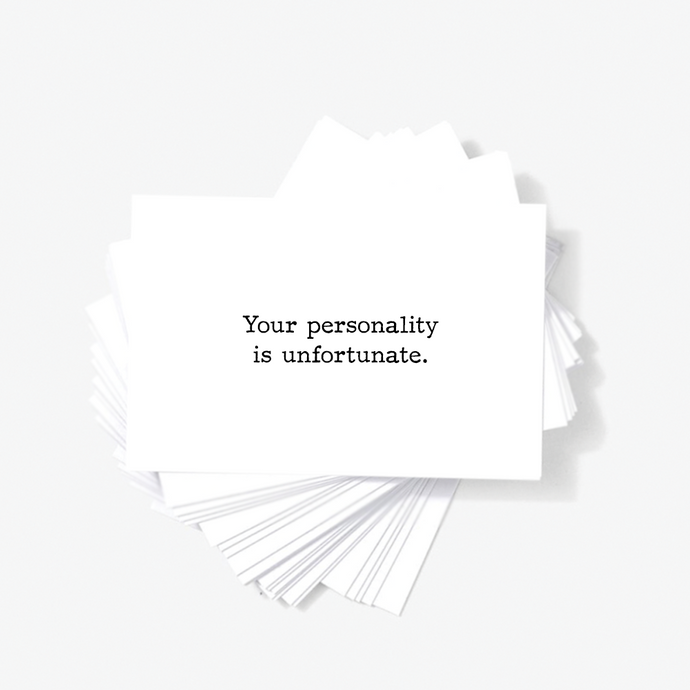 Your Personality Is Unfortunate Sarcastic Mini Greeting Cards by Sincerely, Not