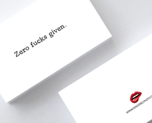 Zero Fucks Given Sarcastic Adult Greeting Card, Witty Greeting Card, Funny Greeting Card