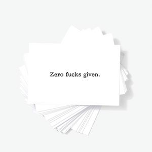 Zero Fucks Given Mini Greeting Cards Offensive Business Cards, Adult Greeting Card