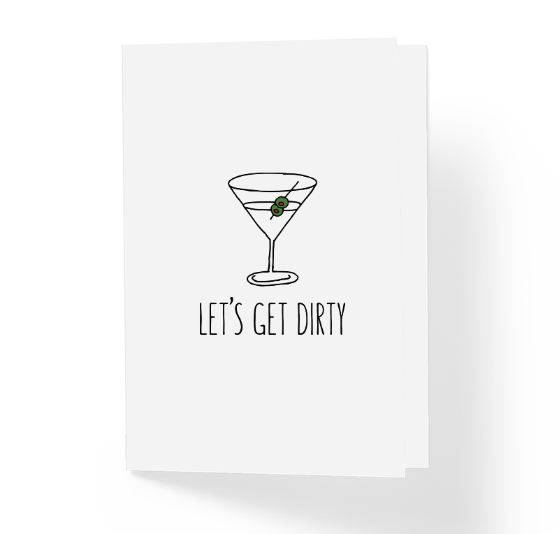Let's Get Dirty Adult Love Greeting Card by Sincerely, Not Sarcastic Valentine's Day Greeting Cards