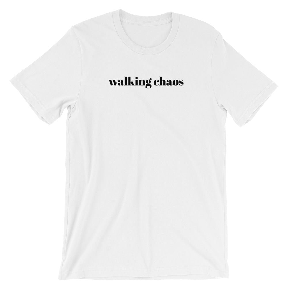Short Sleeve Women's T-Shirt - Walking Chaos Slogan Cotton Tee