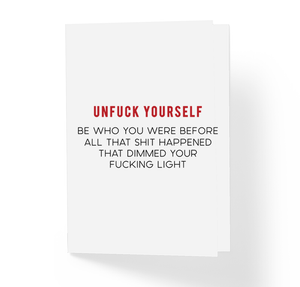 Unfuck Yourself Adult Greeting Card, Motivational Greeting Card, Frienship Greeting Card, Offensive Greeting Card by Sincerely, Not