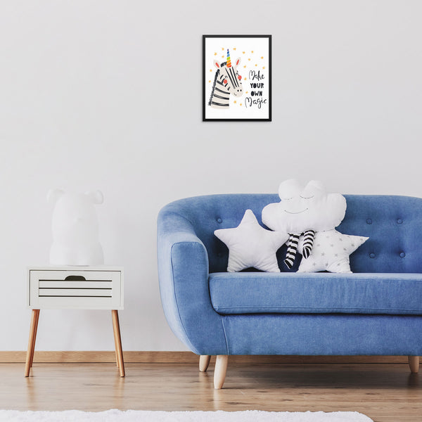 Kids Bedroom Unicorn Zebra Inspirational Art Print Make Your Own Magic