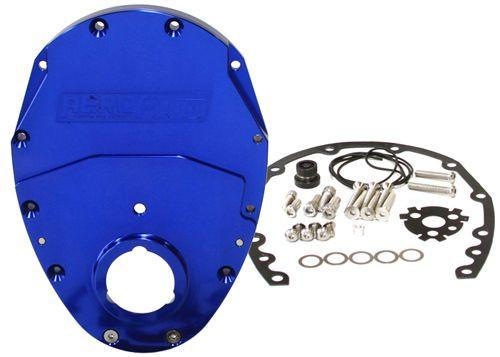 2-Piece Billet Aluminium Timing Cover - Blue Finish - Suit S/B Chev & 90° V6 FAF Automotive Blue
