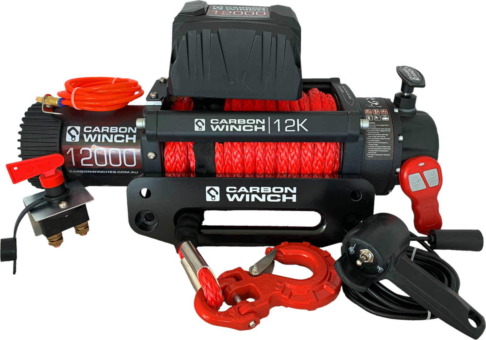 24 Volt Carbon 12K 12000Lb Electric Winch With Synthetic Rope Carbon Winch