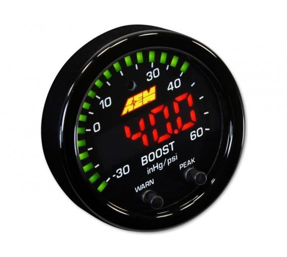 AEM X-SERIES BOOST PRESSURE GAUGE -30~60PSI / -1~4BAR. BLACK BEZEL & BLACK FACEPLATE FAF Automotive