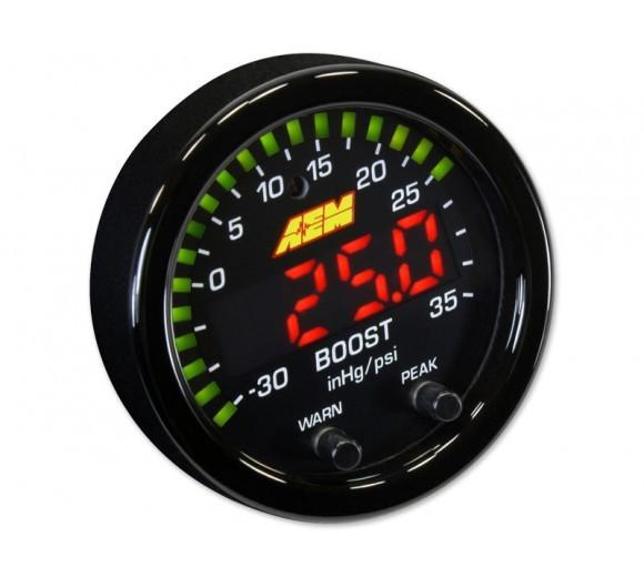 AEM X-SERIES BOOST PRESSURE GAUGE -30INHG~35PSI / -1~2.5BAR. BLACK BEZEL & BLACK FACEPLATE FAF Automotive