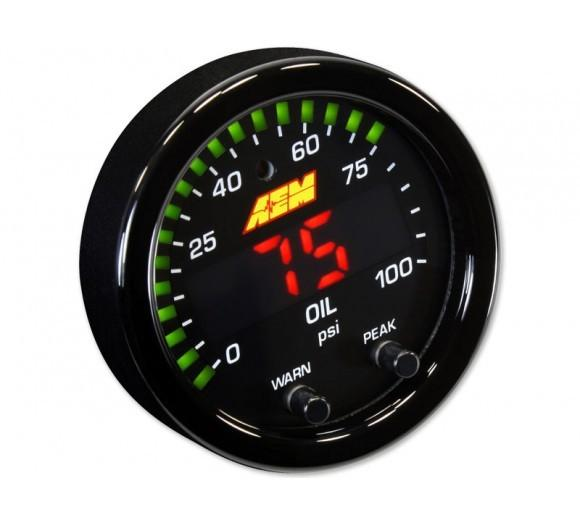 AEM X-SERIES PRESSURE GAUGE 0~100PSI / 0~7BAR . BLACK BEZEL & BLACK OIL FACEPLATE FAF Automotive