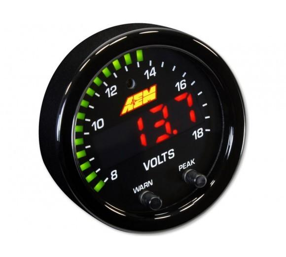 AEM X-SERIES VOLT GAUGE 8~18V. BLACK BEZEL & BLACK FACEPLATE FAF Automotive