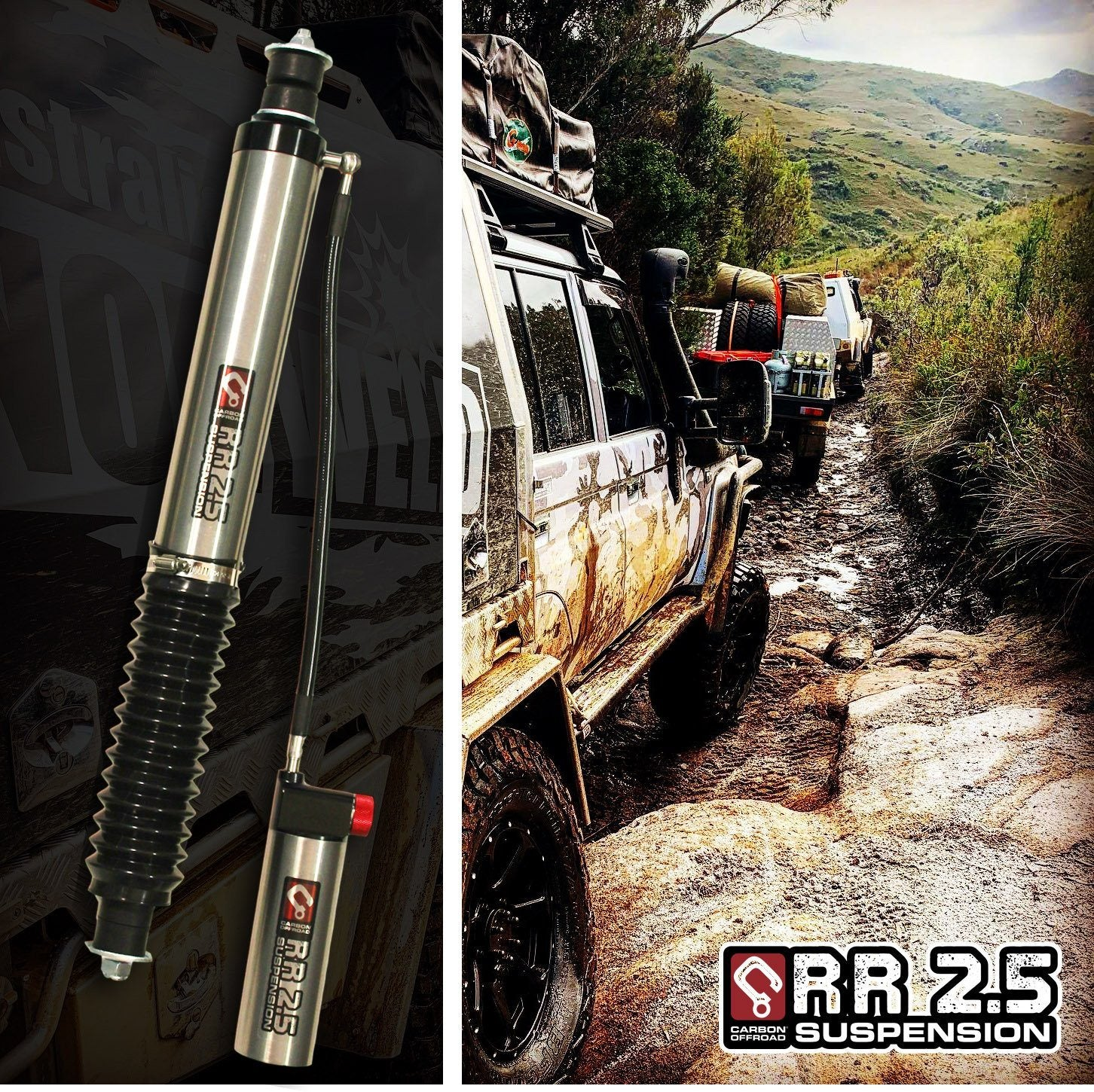 "Carbon Remote Res. 2.5"" Monotube Shock Absorber-Gq/Gu Patrol Lwb Carbon Winch"