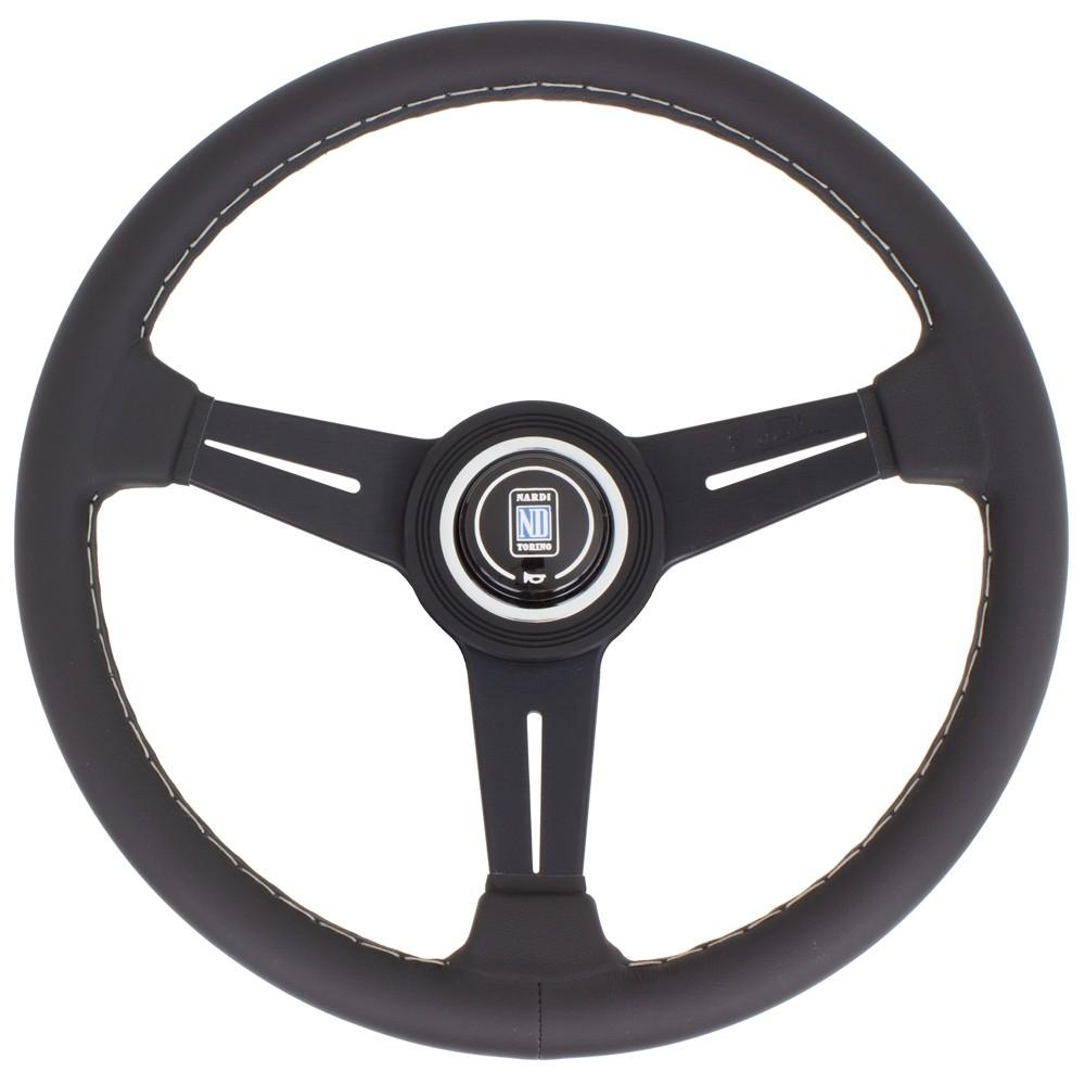Genuine Nardi Classic Steering Wheel - Leather with Black Spokes & Grey Stitching - 340mm