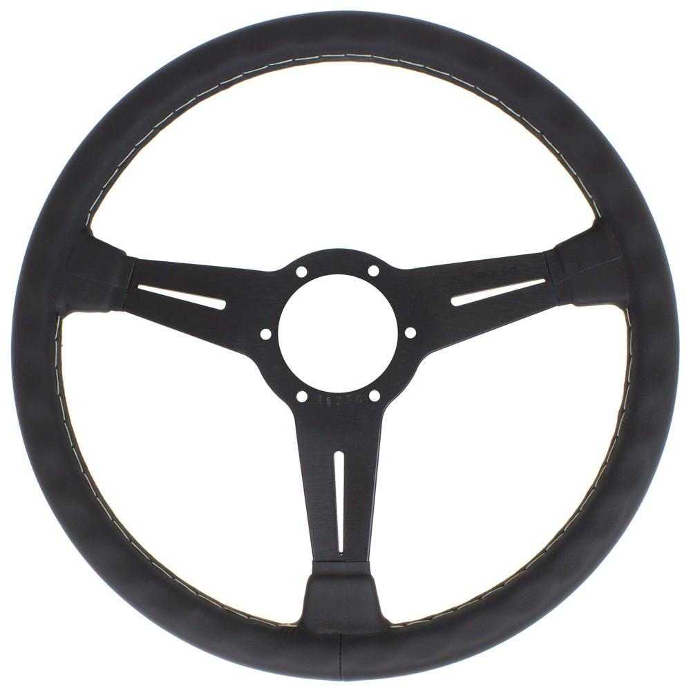 Genuine Nardi Classic Steering Wheel - Leather with Black Spokes & Grey Stitching - 360mm