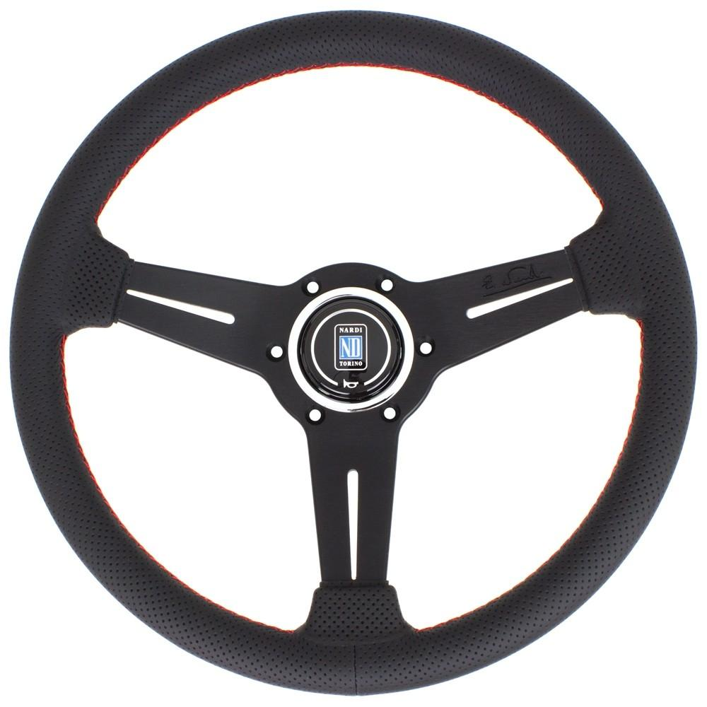 Genuine Nardi Classic Steering Wheel - Perforated Leather with Black Spokes & Red Stitching - 330mm