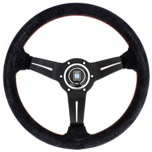 Load image into Gallery viewer, Genuine Nardi Deep Corn Steering Wheel - Suede with Black Spokes & Red Stitching - 330mm FAF Automotive