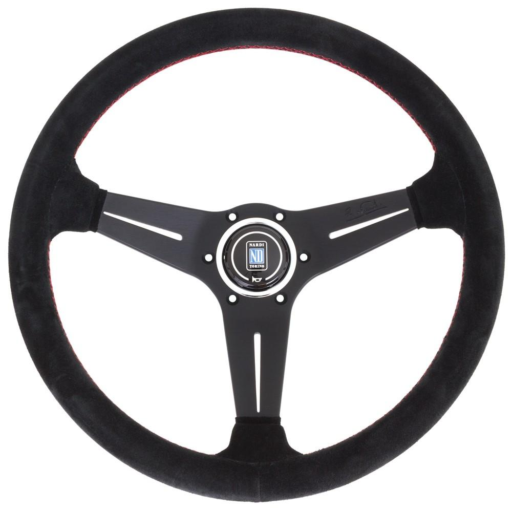 Genuine Nardi Deep Corn Steering Wheel - Suede with Black Spokes & Red Stitching - 350mm