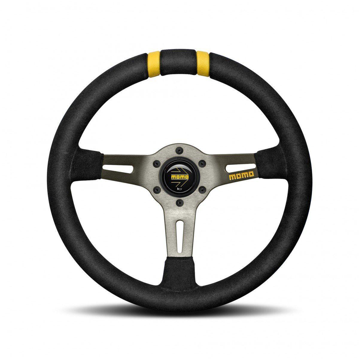 MOMO Drifting - Black Suede Yellow 330mm Track Steering Wheel FAF Automotive