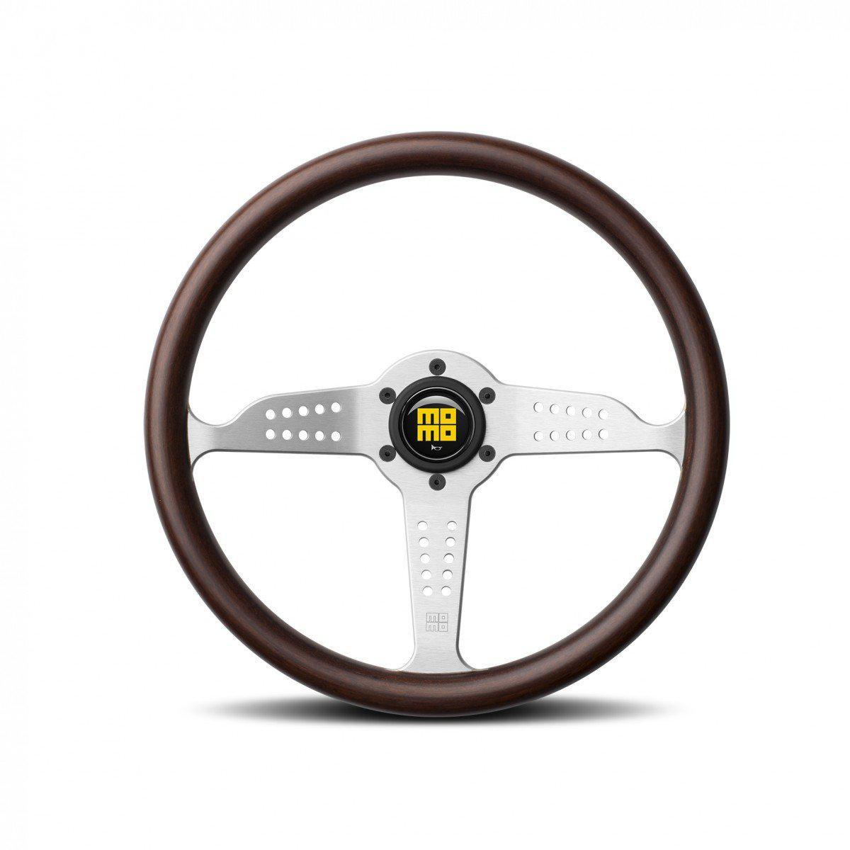 MOMO Grand Prix - Mahogany Wood/Silver Spoke 350mm Street Steering Wheel FAF Automotive