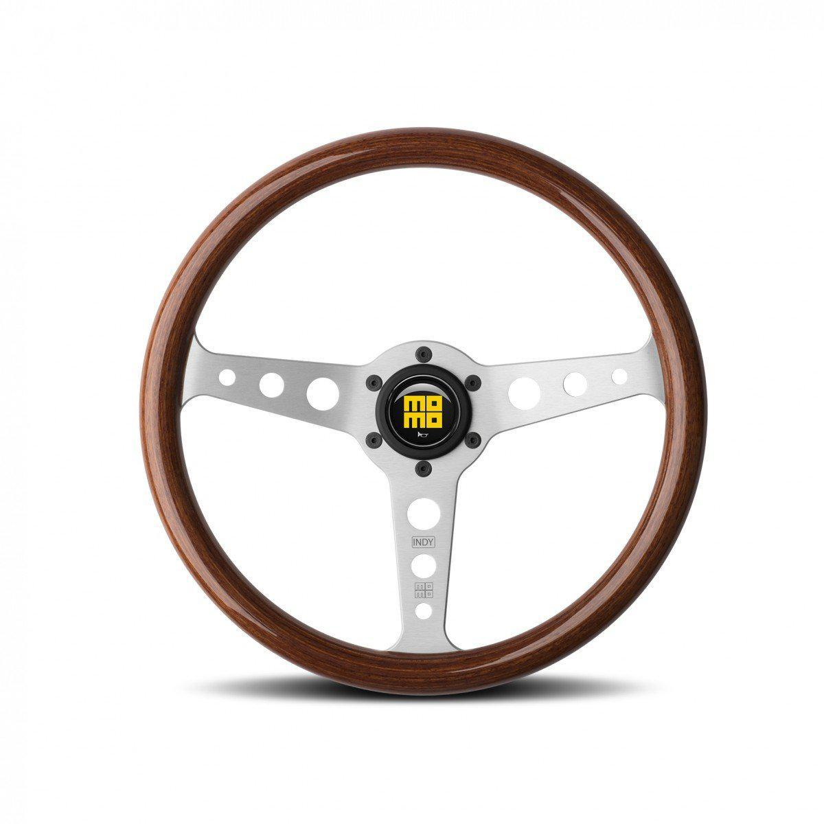 MOMO Indy Heritage - Mahogany Wood/Silver Spoke 350mm Street Steering Wheel FAF Automotive