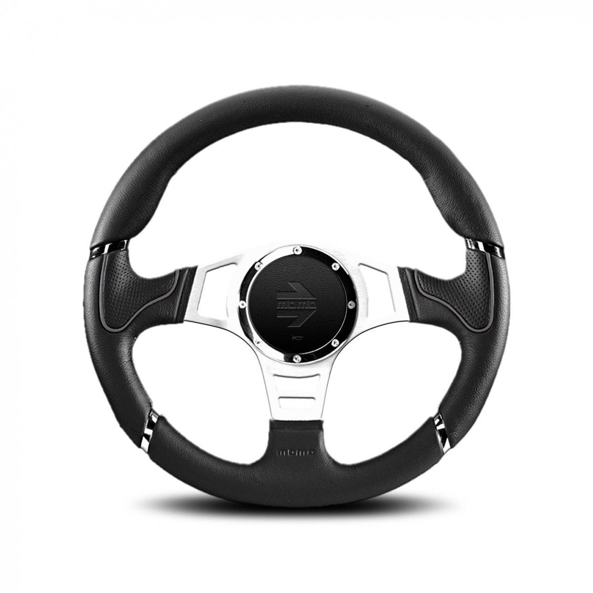 MOMO Millenium Sport- Black/Grey Profile 350mm Street Steering Wheel FAF Automotive