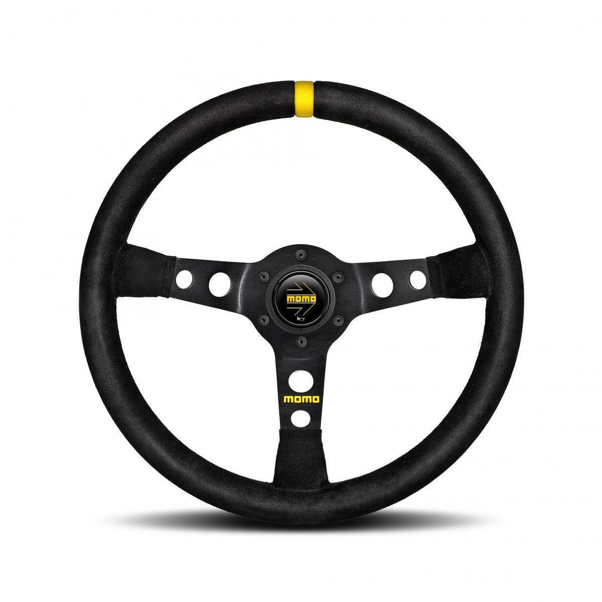MOMO Mod. 07 - Black Suede 350mm Track Steering Wheel FAF Automotive