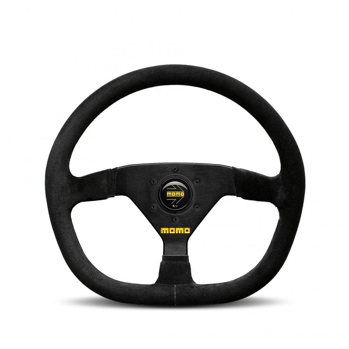 MOMO Mod. 88 Flat Bottom Black Suede Track Steering Wheel FAF Automotive 320mm
