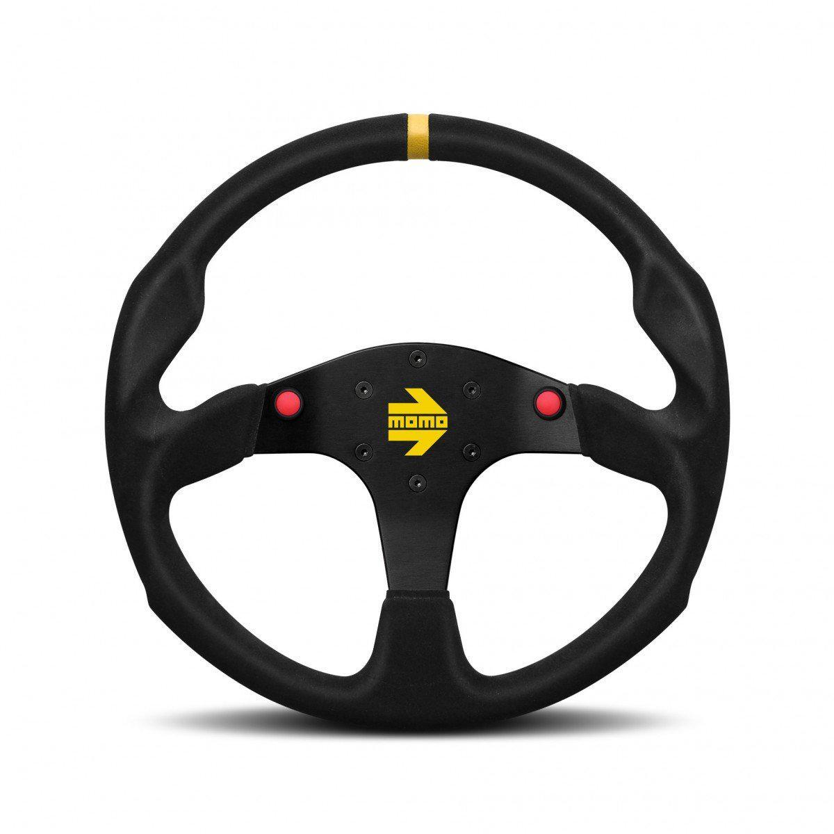 MOMO Mod.80 Evo - Black Suede 350mm Track Steering Wheel FAF Automotive