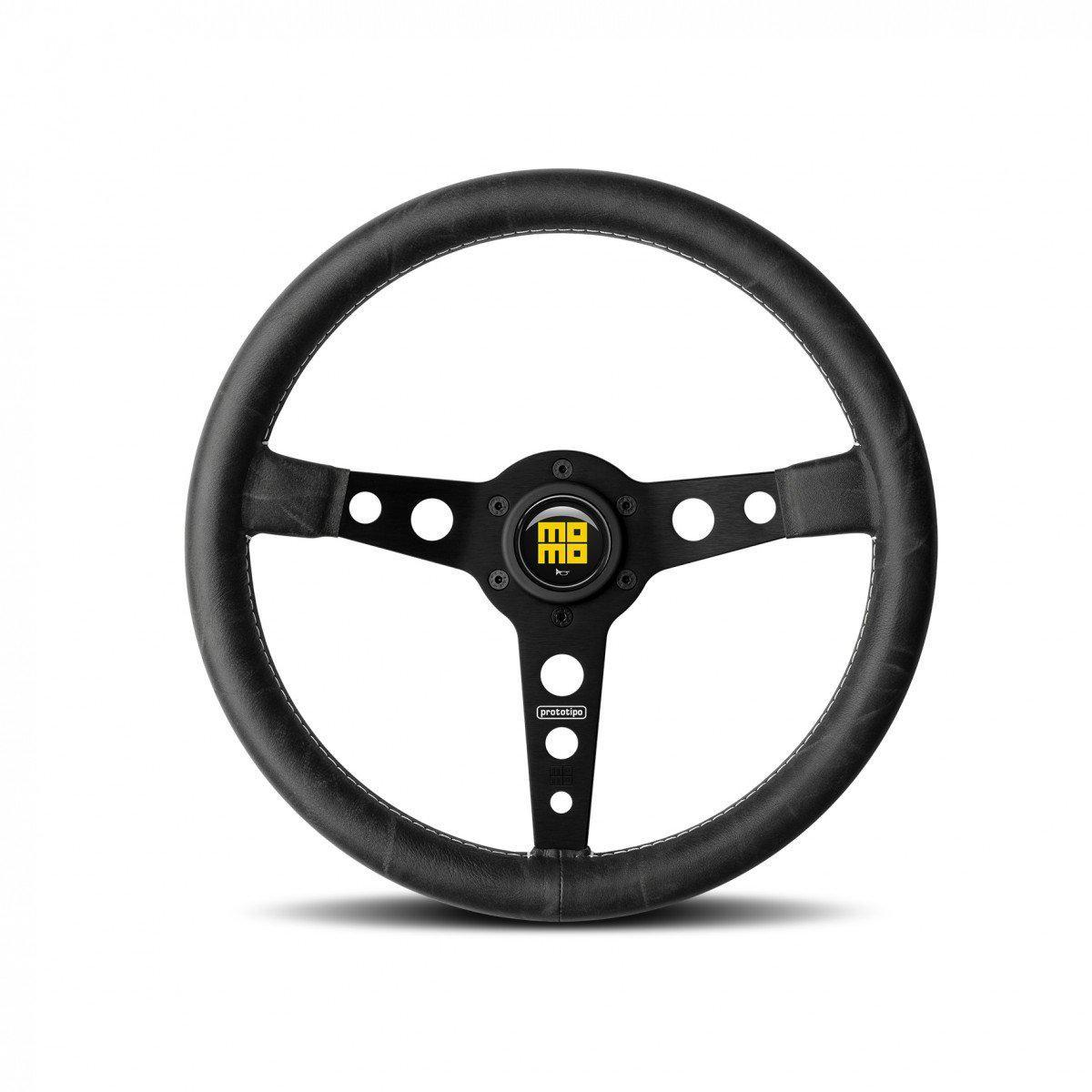 MOMO Prototipo Heritage - Black/Black 350mm Street Steering Wheel FAF Automotive