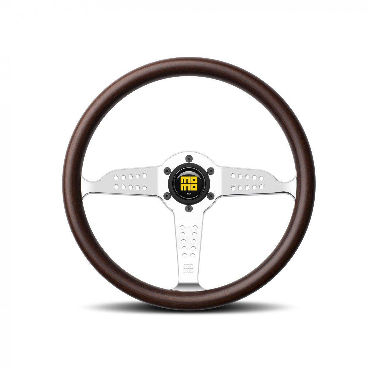 MOMO Super Grand Prix - Mahogany Wood/Chrome Spoke 350mm Street Steering Wheel FAF Automotive