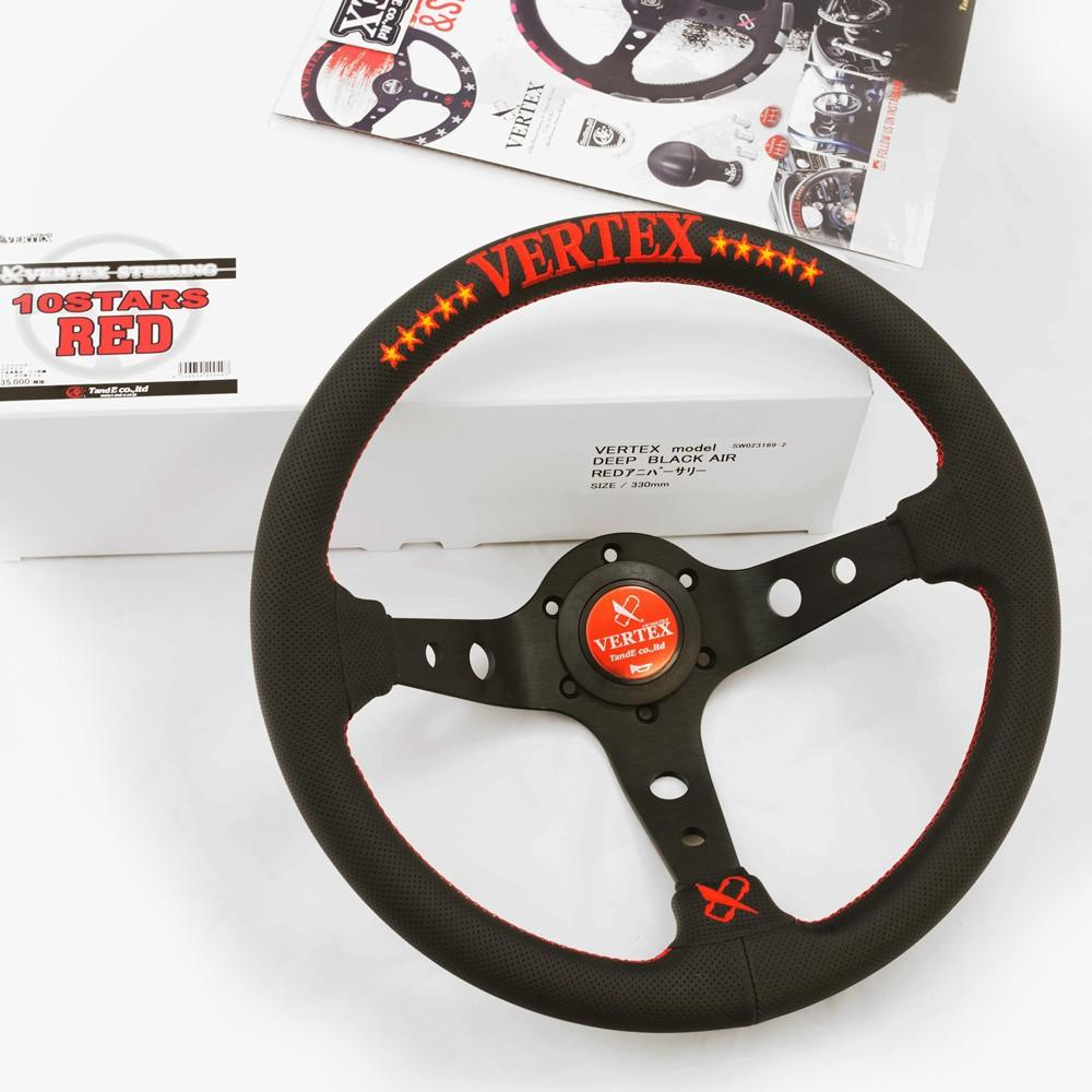 T&E Vertex JDM Steering Wheel - 10 Stars Red FAF Automotive