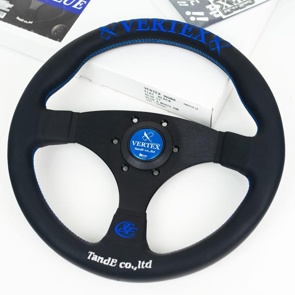 T&E Vertex JDM Steering Wheel - FLAT BLUE - Flat Spokes Blue Logo FAF Automotive