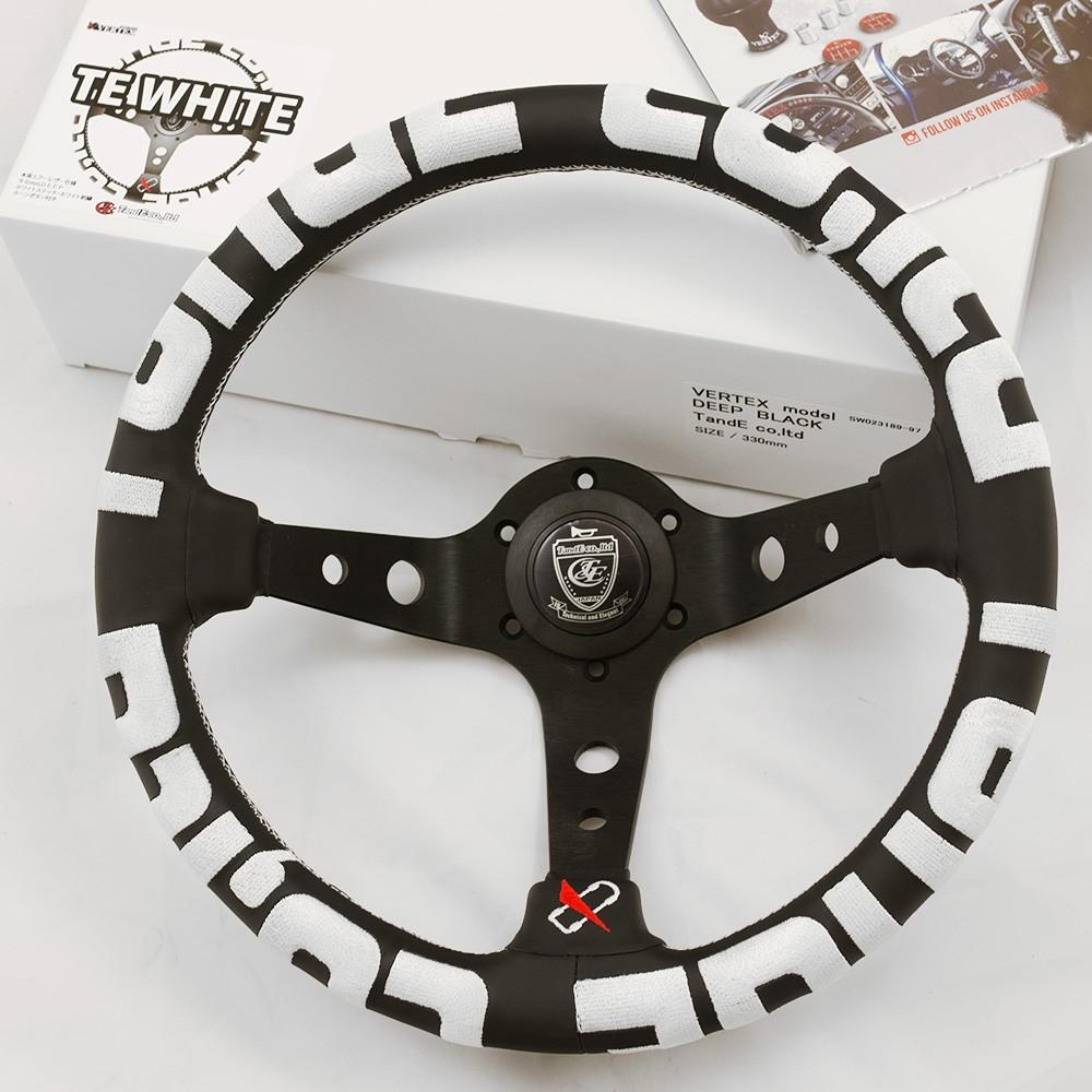T&E Vertex JDM Steering Wheel - T&E White FAF Automotive