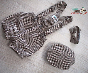 Brown Glen Plaid  4 piece flat cap set