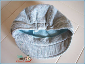 Newsboy Hat - Baby Blue Herringbone Wool