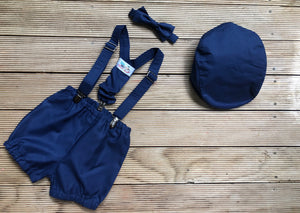 Navy Cashmere Ring Bearer Ensemble - 4 piece Flat Cap Set