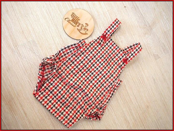 Red and Black Houndstooth Romper