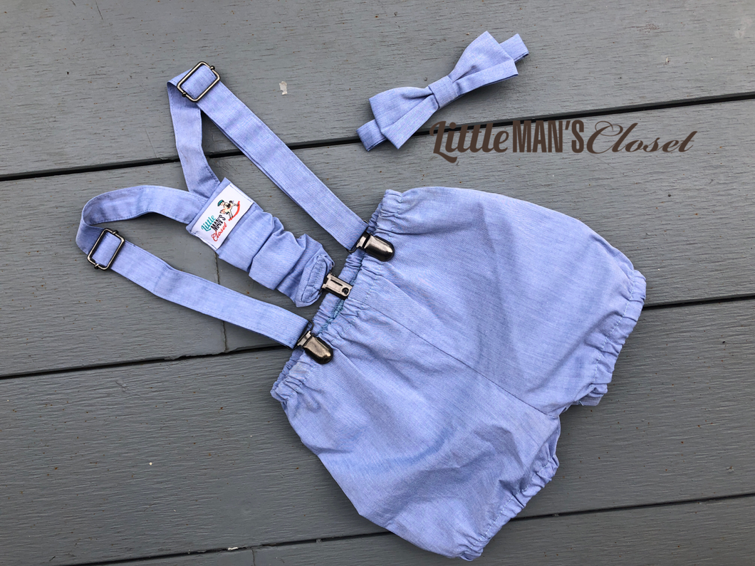 Baby Blue Suspenders + Knickerbockers + Bow Tie Set - 0-2yrs adjustable . Smash the cake