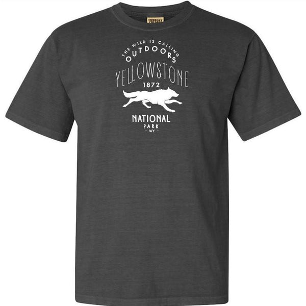Yellowstone National Park Wolf Adventure Comfort Colors TShirt - The National Park Store