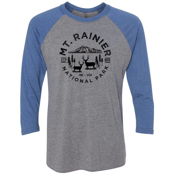 Mount Rainier National Park Next Level Unisex Tri-Blend 3/4 Sleeve Raglan