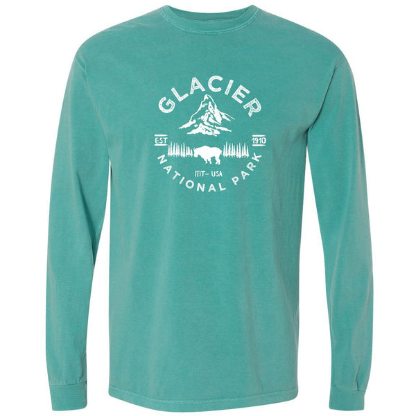 Glacier National Park Comfort Colors Long Sleeve T Shirt