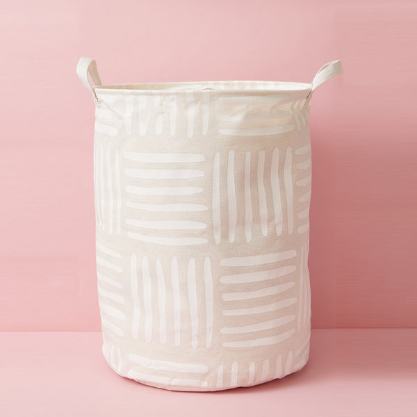 White and grey canvas popable laundry basket