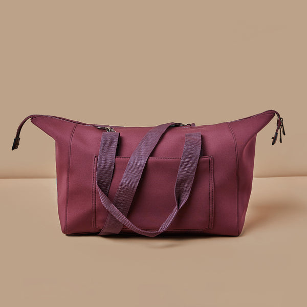 Large cranberry weekender bag with crossbody strap