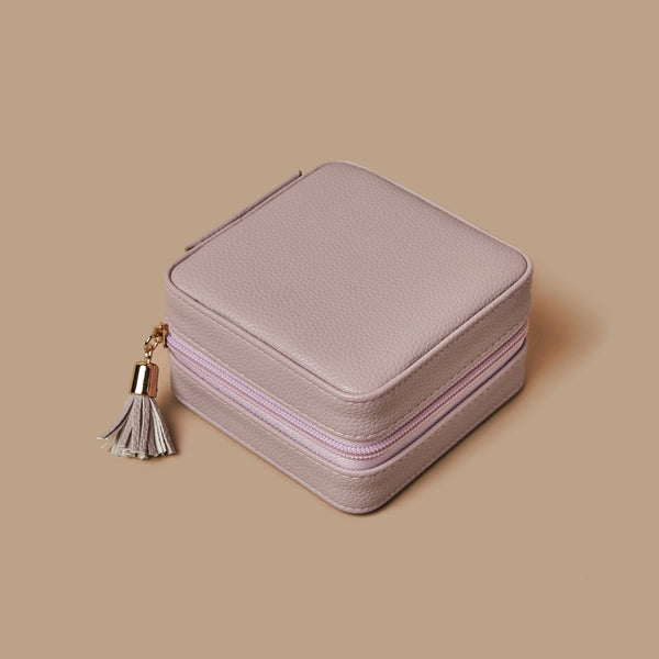Pastel purple square travel jewelry organizer