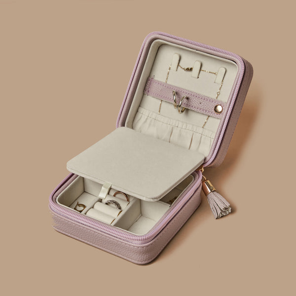 Pastel purple square travel jewerly organizer