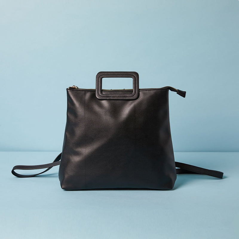 Vegan leather backpack tote bag with a square handle