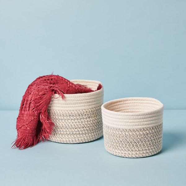 Small and large woven storage bin
